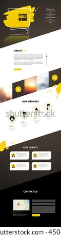 One Page Website Template Vector Eps10, Modern Web Design with flat UI elements, and abstract speech bubble. Ideal for Business layout - stock vector