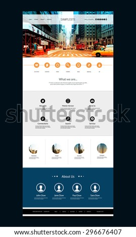 One Page Website Template with Street View of New York City Header Design - stock vector