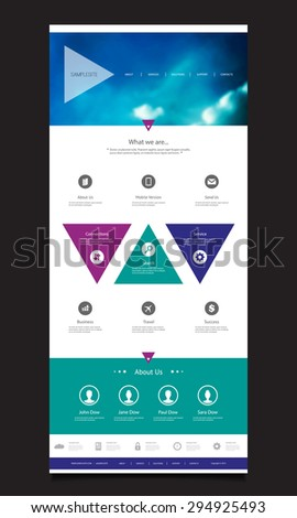 One Page Website Template with Unique Design - Triangles - stock vector
