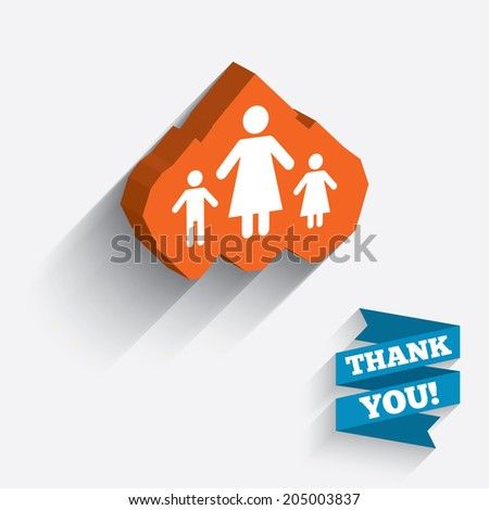 One-parent family with two children sign icon. Mother with son and daughter symbol. White icon on orange 3D piece of wall. Carved in stone with long flat shadow. Vector - stock vector