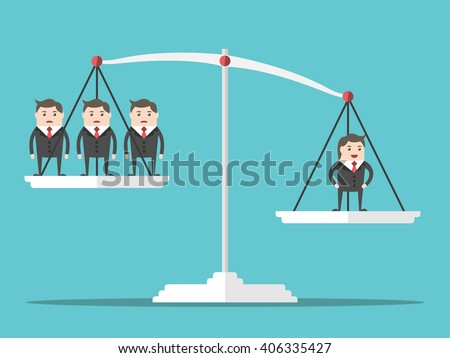 One positive happy successful man outweighing many people on scales. Flat style. Business, success, businessman and leadership concept. EPS 8 vector illustration, no transparency - stock vector