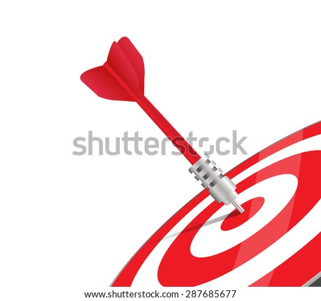 One red dart hitting the center of a target. Vector image over white. Modern design for business or marketing purpose - stock vector