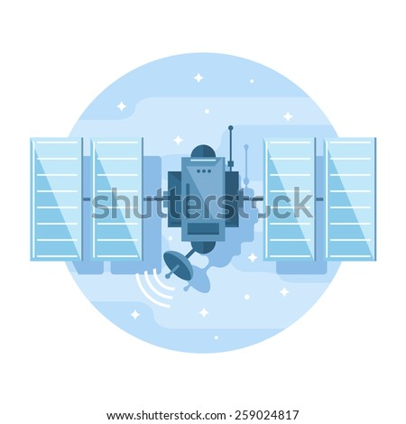One simple satellite, flat style icon illustration - stock vector