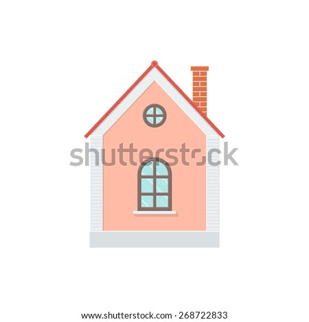 One-storey House with a Tiled Roof, Side View. Detailed Illustration with Shadows Isolated on White Background - stock vector