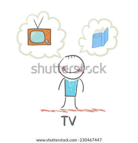one thinks of the TV and book - stock vector