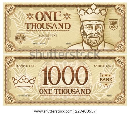 one thousand abstract banknote - stock vector