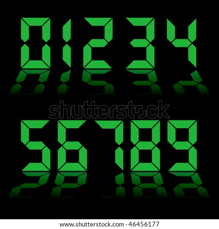 one to nine digital numbers in green with reflection in black background - stock vector