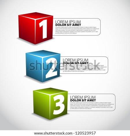 One Two Three Cube progress steps for tutorial - stock vector