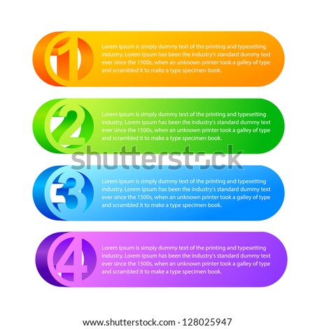 One two three - 3D vector progress icons for three  steps and their description. Vector illustration, eps 10, contains transparencies. - stock vector