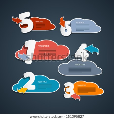 One, Two, Three, Four, Five, Six, Vector Paper Progress Steps for Tutorial, Infographics  - stock vector