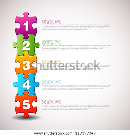 One two three four five - vector progress icons for three steps - stock vector