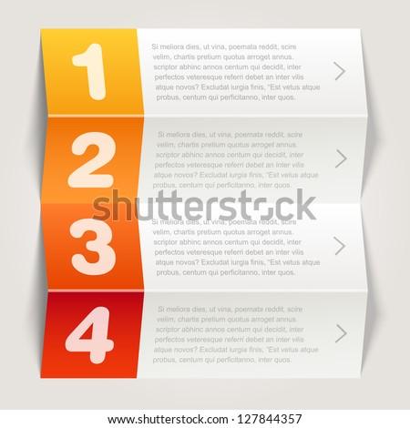 one, two, three, four options - Vector graphic design - orange - stock vector