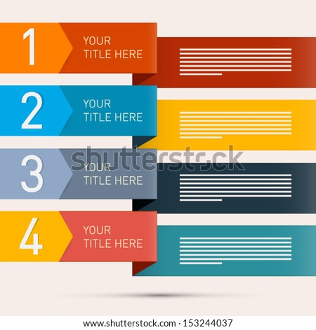 One, Two, Three, Four, Retro Vector Paper Progress Steps for Tutorial, Infographics  - stock vector