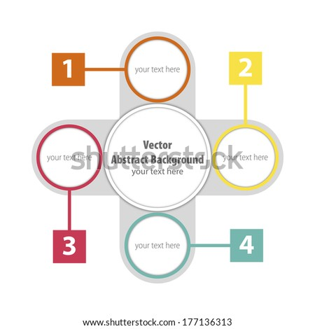 One two three four - vector paper progress steps. - stock vector