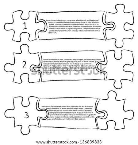 One Two Three, Progress Jigsaw Puzzle Icons Banner Infographic Sketched Up Outline, Vector Illustration EPS 10. - stock vector