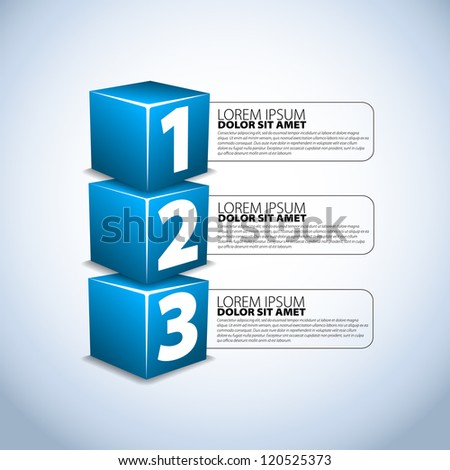 One two three progress steps for tutorial - stock vector