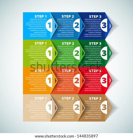 One two three - Set of three version - vector paper progress steps for tutorial - stock vector