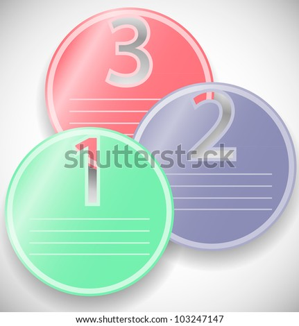 one two three stickers - stock vector