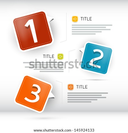 One, two, three, vector paper progress steps for tutorial, infographics - stock vector