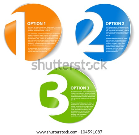 One two three - vector progress icons for three steps or options - stock vector