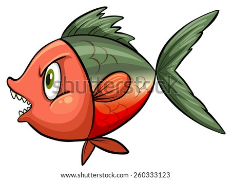 One ugly fish on a white background - stock vector