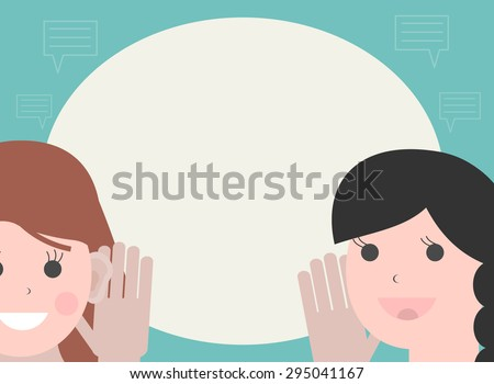 One woman holds hand at her ear and listening, the other  woman says. Hearing and speaking, vector illustration - stock vector