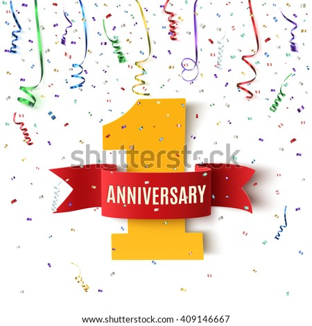 One year anniversary background with red ribbon and confetti on white. Poster or brochure template. Vector illustration. - stock vector