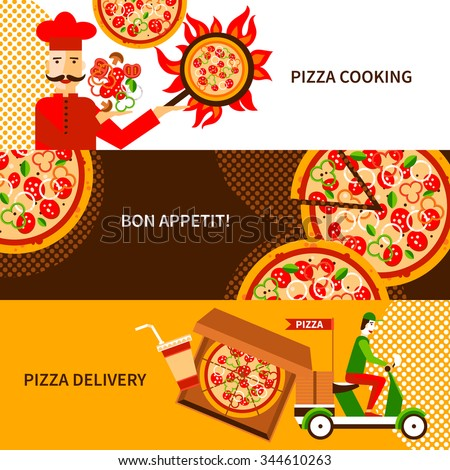 Online and phone orders italian pizza delivery service 3 flat horizontal banners poster abstract isolated vector illustration - stock vector