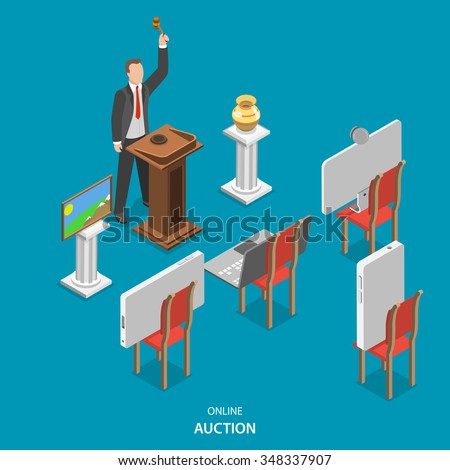 Online auction isometric flat vector concept. Auctioneer conducts an auction, announcing the lots and controlling the bidding. Instead of buyers on the chairs are smart phones, laptop and pc monitor. - stock vector