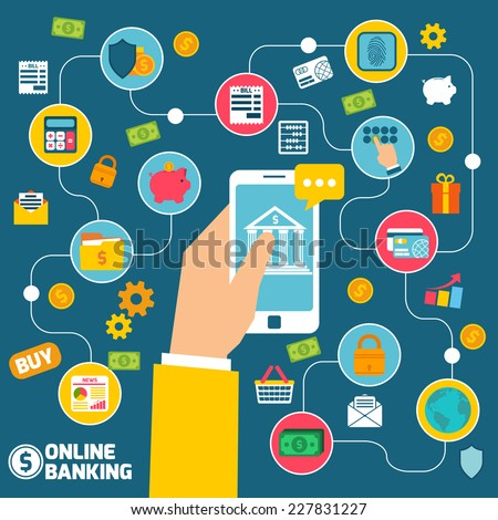 Online banking concept with hand holding smartphone with internet commerce elements vector illustration - stock vector