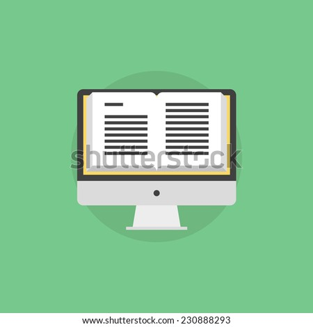 Online book reading, open book on a monitor screen, electronic learning and web text studying. Flat icon modern design style vector illustration concept.  - stock vector