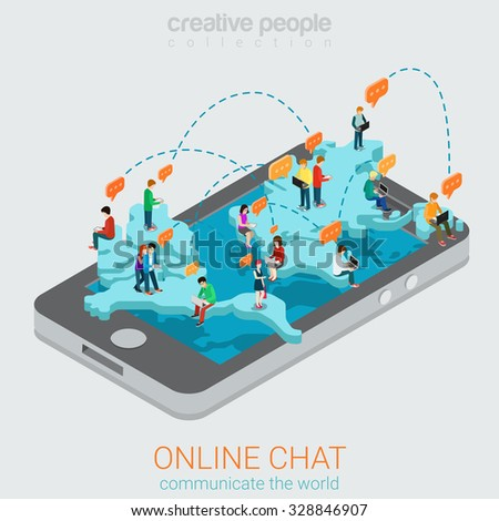 Online chat flat 3d isometric concept. Big smartphone world map and micro people chatting using laptop smart phone tablet. Creative people technology collection. - stock vector