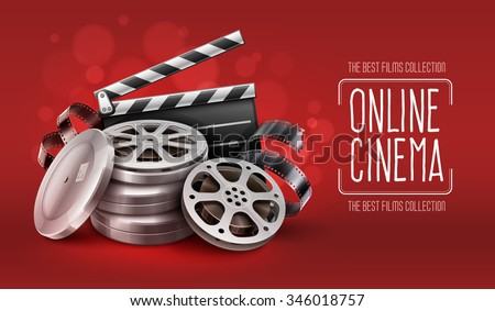 Online cinema with film movie tape disks in boxes and directors clapper for filmmaking. Vector Illustration - stock vector