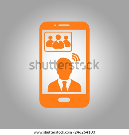 Online conference smart phone icon. - stock vector