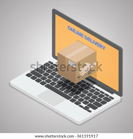 Online delivery. A concept for fast delivery service. Messenger hand giving a package box out of laptop screen. Isometric illustration vector. - stock vector