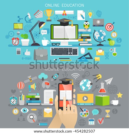 Online Education and Mobile courses concepts. Vector illustration. - stock vector