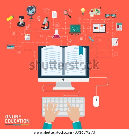 Online Education Concept. Flat design modern vector icons set of distance education and e-learning - stock vector