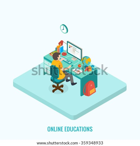 Online education concept. Isometric 3d vector - stock vector