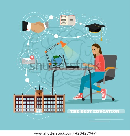 Online education concept. Vector illustration in flat style. Laptop on a table. Female student studying on internet and learning writing notes in a desk at home. - stock vector