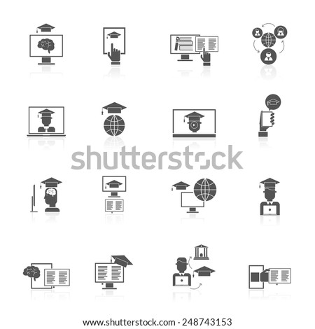 Online education digital graduation degree and virtual certificate black icons set isolated vector illustration - stock vector