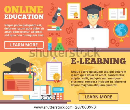 Online education, e-learning flat illustration concepts set. Flat design concepts for web banners, web sites, printed materials, infographics. Creative vector illustration - stock vector
