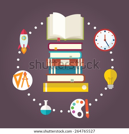 Online education e-learning science concept with books and studying icons vector illustration. - stock vector