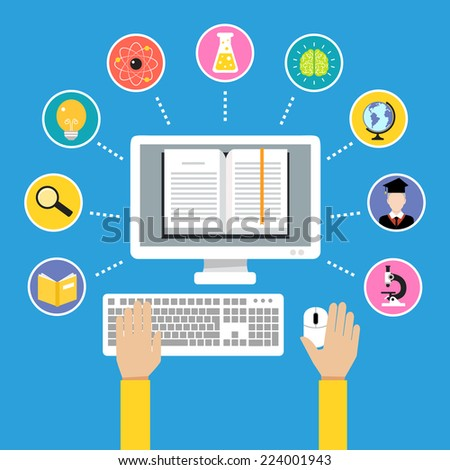 Online education e-learning science concept with human hand and computer book vector illustration - stock vector