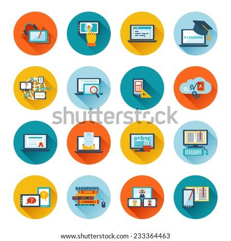 Online education e-learning university webinar student seminar graduation flat icons set vector illustration - stock vector