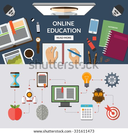 Online education, e learning, web courses flat concept background banner with education icons set. Top view on desktop. Study process. Vector illustration - stock vector