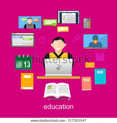 Online education illustration. Flat design illustration concepts for e-learning, internet education. internet tutorial, online studying.  - stock vector