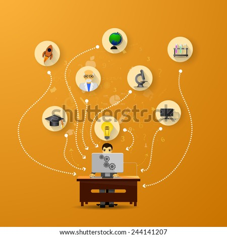 online education infographic with icons on orange background - stock vector