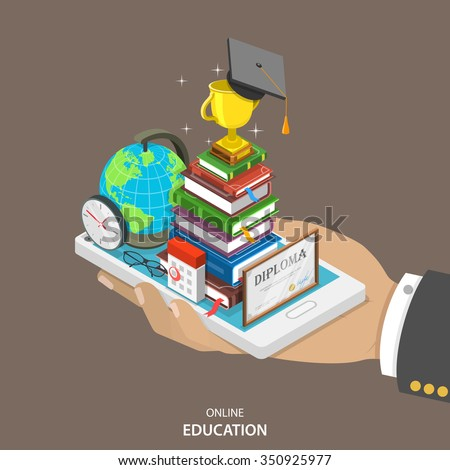 Online education isometric flat vector concept. Mans hand holds a mobile phone with education attributes like books, diploma, graduation hat. Distant learning service.  - stock vector