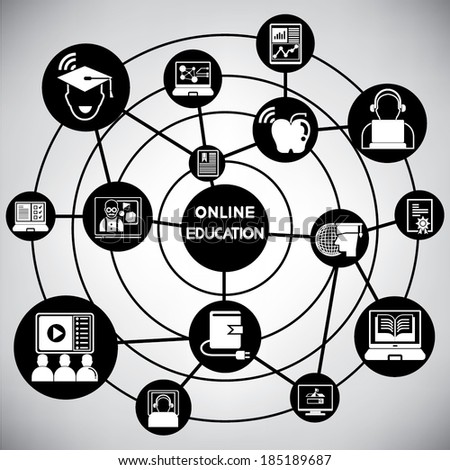 online education network, info graphic - stock vector