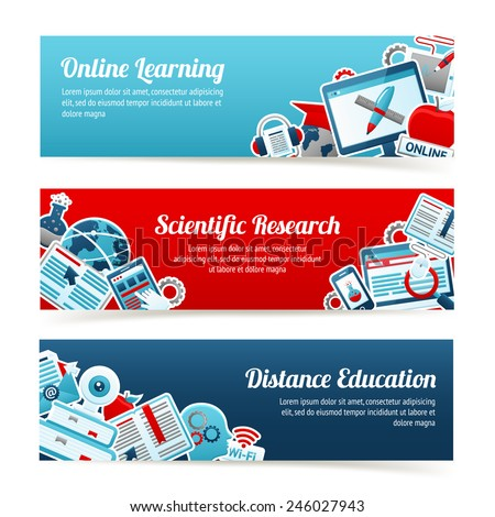 Online education online learning scientific research horizontal banners set isolated vector illustration - stock vector